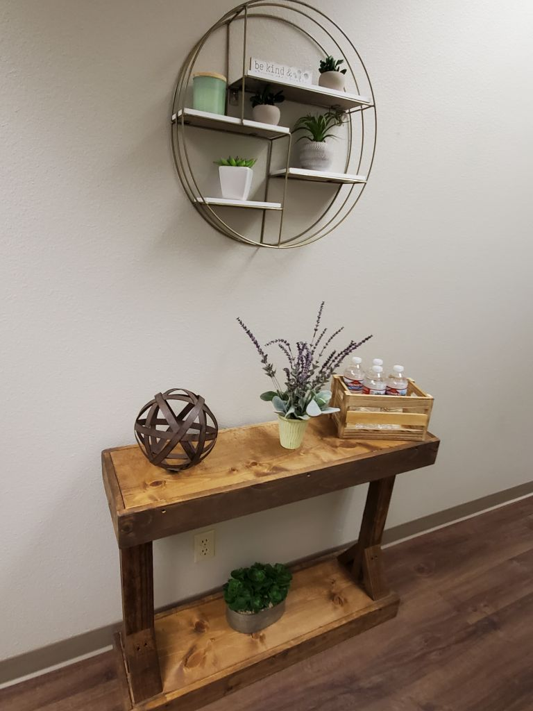 Interior decor at Hope Clinic showing a shelf and wall decor