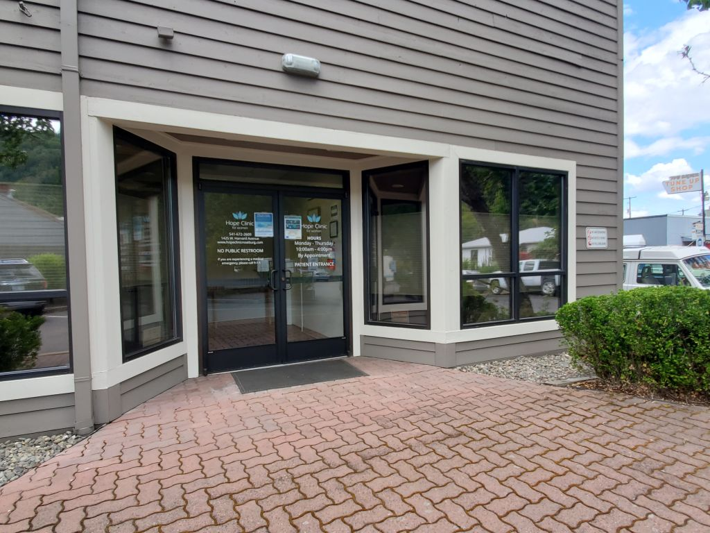 Exterior photo of Hope Clinic showing front door